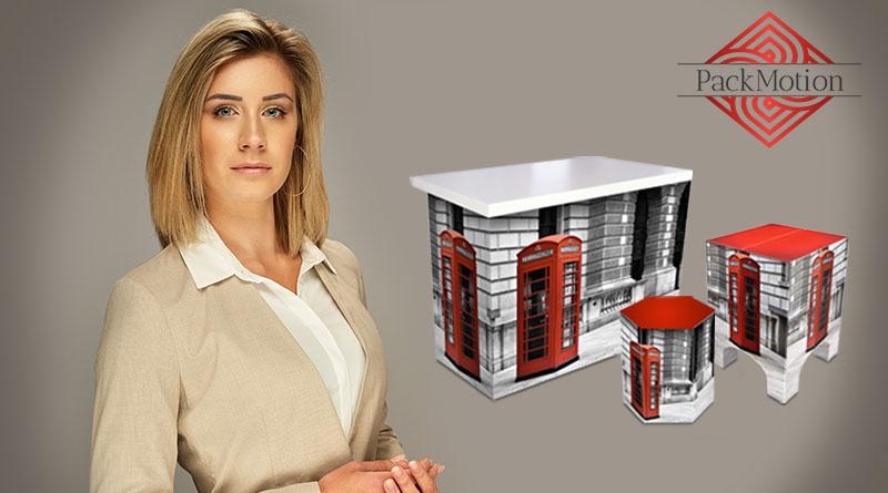 PackMotion individuell bedruckte Pappmöbel mit Werbedruck