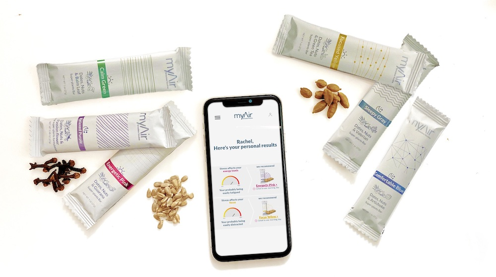 MyAir personalize stress relief via plant-powered nutrition bars